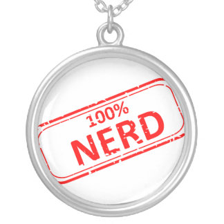 100% Nerd Rubber-stamp Silver Plated Necklace