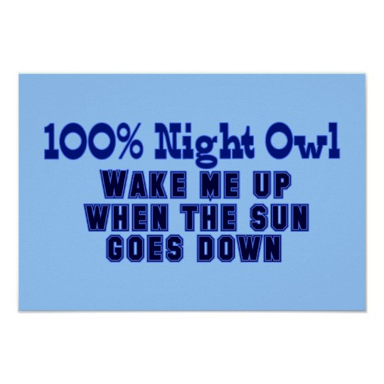 100% Night Owl. Wake Me Up When the Sun Goes Down Poster