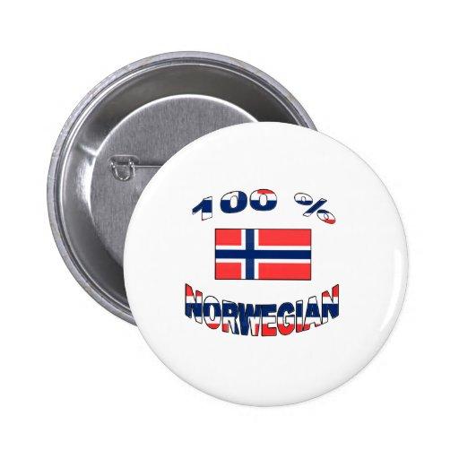 100% Norwegian 2 Inch Round Button