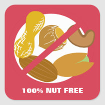 100% Nut Free Food Allergy Alert Stickers