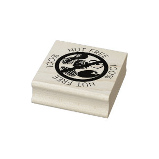 100% Nut Free No Peanuts or Tree Nuts Symbol Rubber Stamp