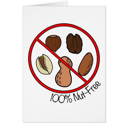 100% Nut Free (Tree nuts & Peanuts) Card