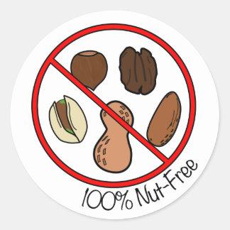100% Nut Free (Tree nuts & Peanuts) Classic Round Sticker