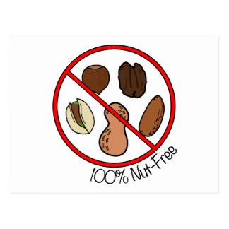 100% Nut Free (Tree nuts & Peanuts) Postcard