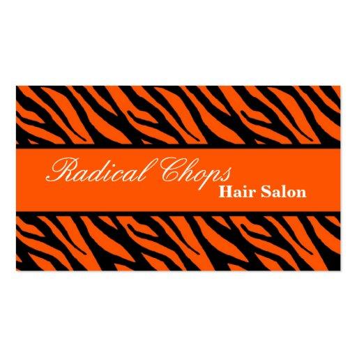 100 Orange Black Zebra Print Pattern Business CardOrange Zebra Print Pattern