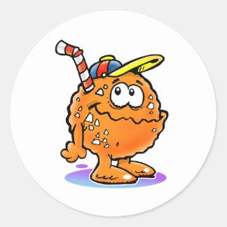 100 Orange juice Round Stickers