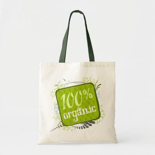 100% Organic Canvas Grocery Tote Bag