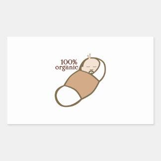 100% Organic Rectangle Stickers