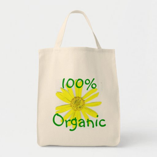 100% ORGANIC YELLOW DAISEY TOTE GROCERY TOTE BAG