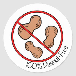 100% Peanut Free Classic Round Sticker