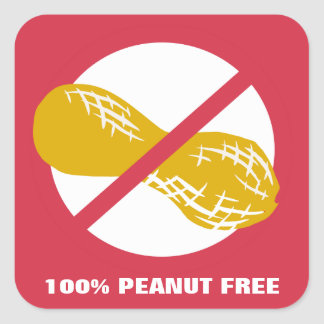 100% Peanut Free Customizable Red Bolded Square Sticker