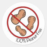 100% Peanut Free Round Stickers