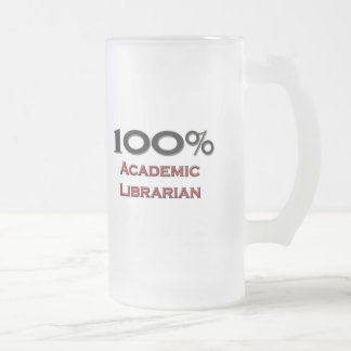 100 Percent Academic Librarian Frosted Glass Beer Mug
