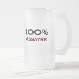 100 Percent Assayer 16 Oz Frosted Glass Beer Mug