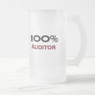 100 Percent Auditor Frosted Glass Beer Mug