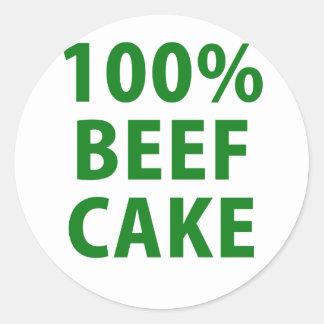 100 Percent Beef Cake Classic Round Sticker