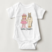100 Percent Blond Cowgirl and Horse Baby Bodysuit