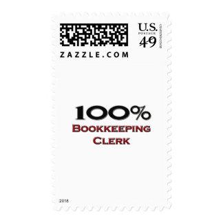 100 Percent Bookkeeping Clerk Stamp