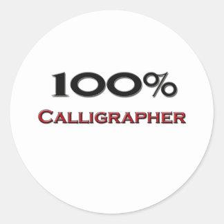 100 Percent Calligrapher Round Stickers