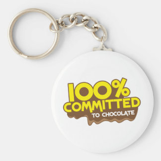 100 percent commmited to chocolate keychain