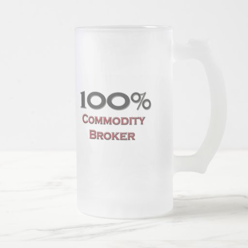 100 Percent Commodity Broker 16 Oz Frosted Glass Beer Mug
