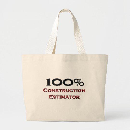 100 Percent Construction Estimator Large Tote Bag