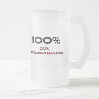 100 Percent Data Processing Manager Frosted Glass Beer Mug