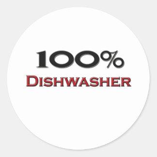 100 Percent Dishwasher Classic Round Sticker