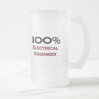 100 Percent Electrical Engineer Frosted Glass Beer Mug
