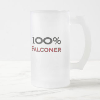 100 Percent Falconer Frosted Glass Beer Mug