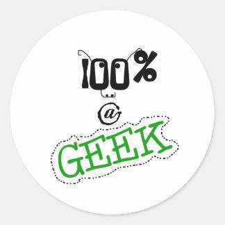 100 Percent Geek Classic Round Sticker