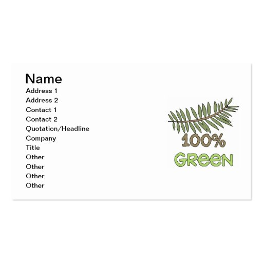 100 Percent Green T-shirts and Gifts Business Cards