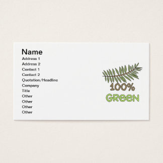100 Percent Green T-shirts and Gifts Business Card