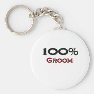 100 Percent Groom Basic Round Button Keychain