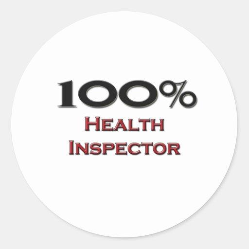 100 Percent Health Inspector Classic Round Sticker