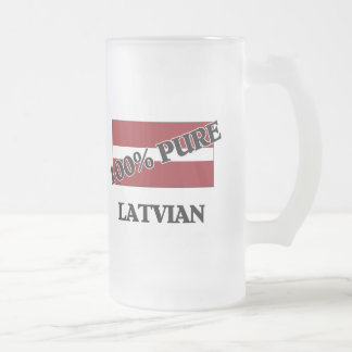100 Percent LATVIAN Frosted Glass Beer Mug