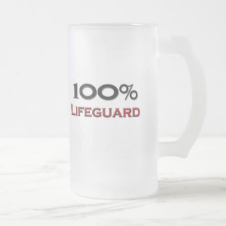 100 Percent Lifeguard Frosted Glass Beer Mug