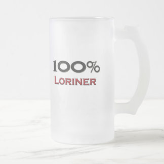 100 Percent Loriner Frosted Glass Beer Mug
