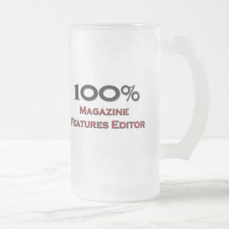 100 Percent Magazine Features Editor 16 Oz Frosted Glass Beer Mug