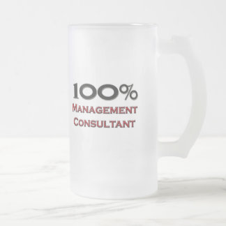 100 Percent Management Consultant Frosted Glass Beer Mug