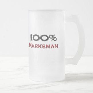 100 Percent Marksman Frosted Glass Beer Mug