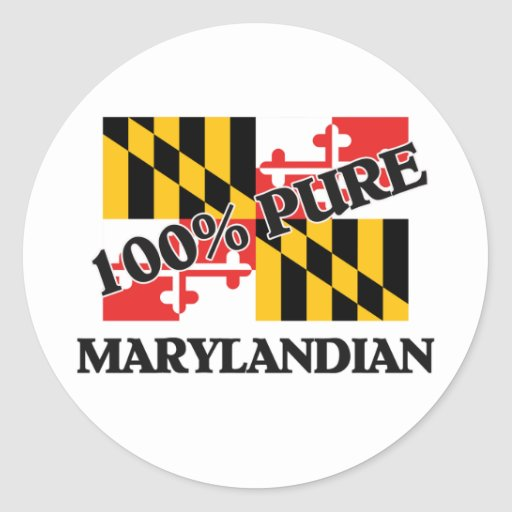 100 Percent Marylandian Classic Round Sticker