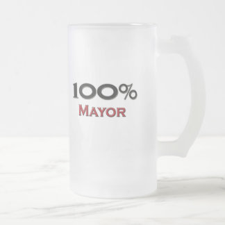 100 Percent Mayor Frosted Glass Beer Mug