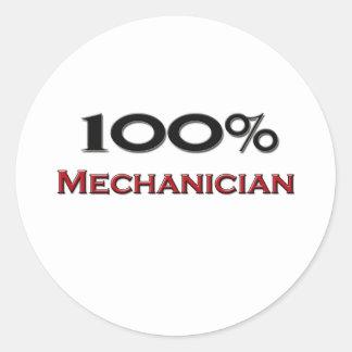 100 Percent Mechanician Round Sticker
