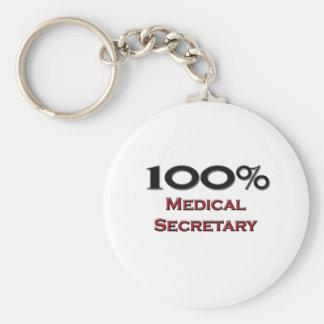 100 Percent Medical Secretary Basic Round Button Keychain