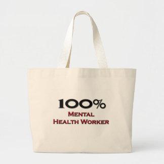 100 Percent Mental Health Worker Large Tote Bag
