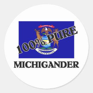 100 Percent Michigander Classic Round Sticker