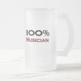 100 Percent Musician Frosted Glass Beer Mug
