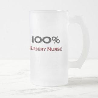 100 Percent Nursery Nurse 16 Oz Frosted Glass Beer Mug