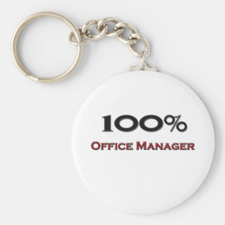 100 Percent Office Manager Basic Round Button Keychain
